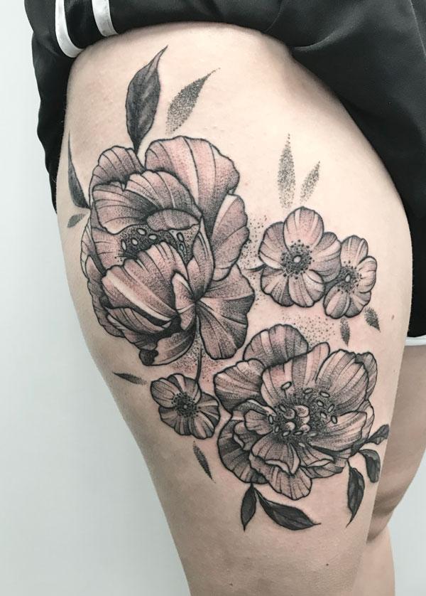 flowers-bw